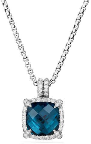 David Yurman 9mm Châtelaine Hampton Blue Topaz Pendant Necklace with Diamonds