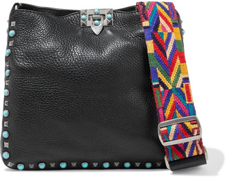 Valentino Rolling Rockstud Embellished Pebbled-leather Shoulder Bag