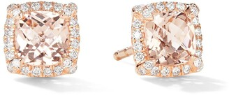 David Yurman 5mm 18kt rose gold Petite Chatelaine morganite and pave diamond stud earrings