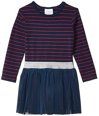 Toobydoo Tulle Dress (Toddler/Little Kids/Big Kids) (Navy/Red Striped) Girl's Clothing