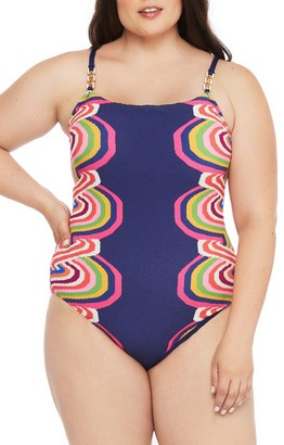 Trina Turk Rainbow Swirl One-Piece Swimsuit (Plus Size)