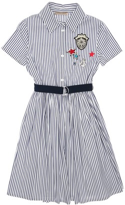 Ermanno Scervino Striped Cotton Poplin Dress W/ Patch
