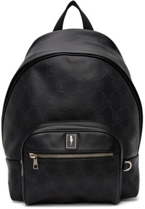 Neil Barrett Black Embossed Logo Backpack