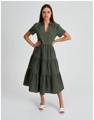 Basque Tiered Cotton Dress