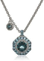 "Judith Ripka Casablanca"" Octagon Color Pave Pendant with A Charm, London Blue Spinel Center, Swis Blue Topaz Pave, Black Rhodium Pendant Necklace"