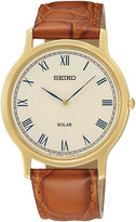 Seiko Mens Brown Leather Strap Solar Watch SUP876