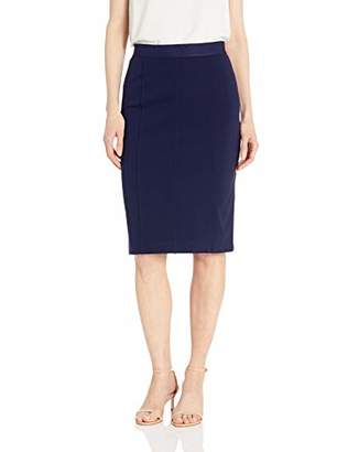 Lark & Ro Women's Elastic Waist Pencil Skirt with Princess Seams