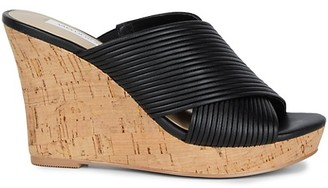 Saks Fifth Avenue Loft Smooth Cork Wedge Sandals
