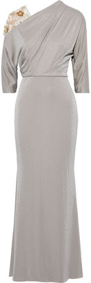 Badgley Mischka Embellished Tulle-paneled Metallic Jersey Gown
