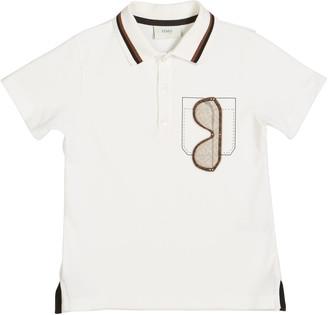 Fendi Boy's Sunglasses Graphic Polo Shirt, Size 8-14, White