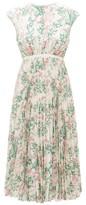 Giambattista Valli Floral-print Pleated Silk-crepe Dress - Womens - Ivory Multi