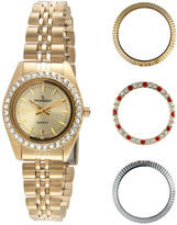 Peugeot Womens Interchangeable 4-Bezel Gold-Tone Bracelet Watch Set
