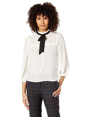 My Michelle Leighton By Junior's womens Swiss Dot Blouse with Bow Tie Neck