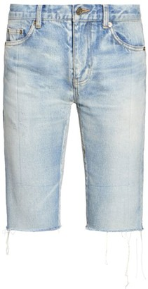 Saint Laurent Distressed Denim Bermuda Shorts