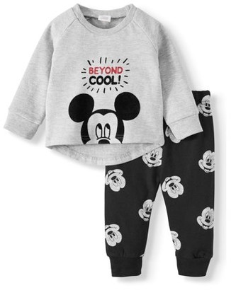 Mickey Mouse Baby Boy Fleece Long Sleeve Sweater & Pants Outfit Set, 2pc
