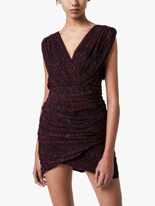 AllSaints Serena Snake Print Gathered Bodycon Dress, Burgundy Red