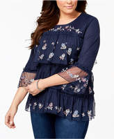 Style&Co. Style & Co Plus Size Tiered Embroidered Mesh Top, Created for Macy's