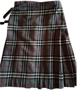 Burberry Grey Wool Skirt for Women Vintage