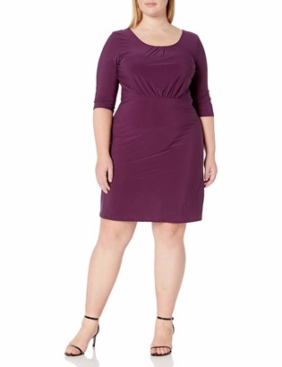 Star Vixen Women's Plus Size Elbow Sleeve Ity Knit Short Skater Waist-Seam Dress with Scoop Neckline and X Crossback Detail