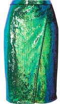 River Island Womens Bright turquoise sequin wrap midi skirt