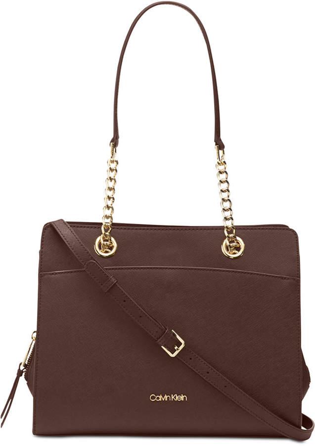 7cafd724606 Calvin Klein Brown Saffiano Leather Handbags - ShopStyle