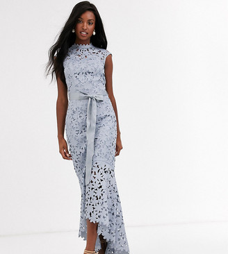 Chi Chi London Tall wrap tie lace maxi dress in gray
