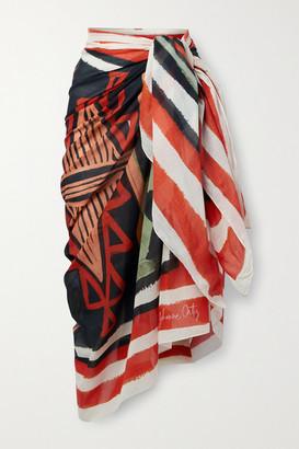 Johanna Ortiz + Net Sustain Choosing Destinations Henna Printed Organic Cotton-voile Pareo - Red