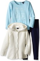 Nautica Little Girls' Toddler Peplum Sweater Jacket Shirt and Legging Set
