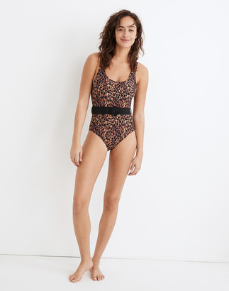 Madewell Solid & Striped Anne-Marie One-Piece Swimsuit in Leopard Print