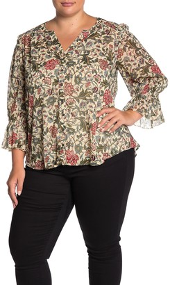 Democracy 3/4 Sleeve Floral Print Blouse (Plus Size)