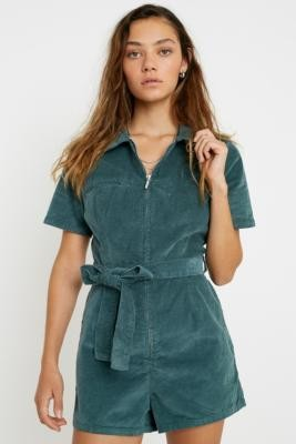 Urban Outfitters Hello Sunshine Corduroy Playsuit - green XS at