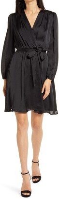 Fraiche by J Long Sleeve Wrap Dress