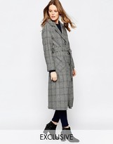 Helene Berman Button Down Belted Coat In Gray Green & Navy Check
