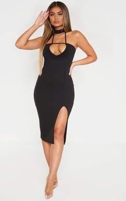 PrettyLittleThing Black Strappy High Neck Split Midi Dress