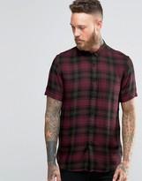 Asos Shirt In Burgundy Viscose Check With Short Sleeves
