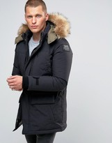 Schott Ottowa Down Hooded Parka With Faux Fur Trim