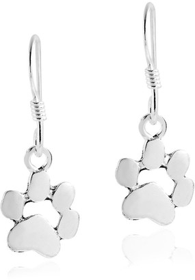 Aeravida Handmade Charming Pet Paw Print .925 Sterling Silver Dangle Earrings