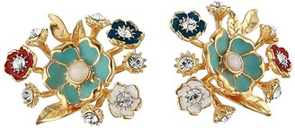 Sole Society SOLE / SOCIETY Bouquet Stud Earrings (12K Soft Polish Gold/Ivory/Crystal/Multicolor) Earring