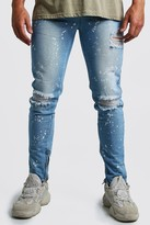 boohoo Mens Blue Skinny Ripped Knee Jeans With Bleach Effect, Blue