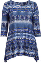 Glam Blue & White Paisley Sidetail Top - Plus