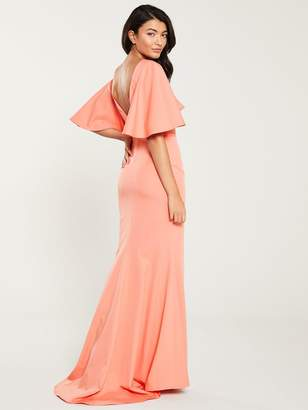 Jarlo Adora Angel Sleeve Fishtail Maxi Dress - Coral