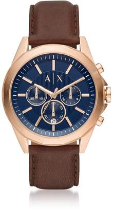 Armani Collezioni Armani Exchange Drexler Blue Dial And Brown Leather Mens Chronograph Watch