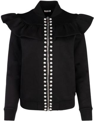 Miu Miu Embellished Ruffle Zipped Bomber Jacket