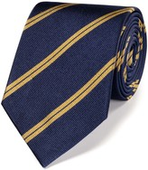 Charles Tyrwhitt Navy and gold silk classic double stripe tie