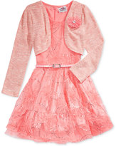Beautees Mesh Dress & Metallic Cardigan Set, Little Girls (4-6x)