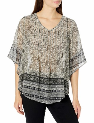 One World ONEWORLD Women's Woven Printed Blouse with Pleat Front Detail