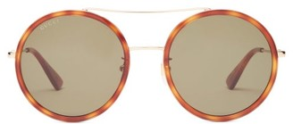 Gucci Round Tortoiseshell-acetate And Metal Sunglasses - Green Gold