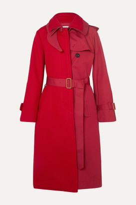 Sacai Melton Wool And Cotton-gabardine Trench Coat - Red