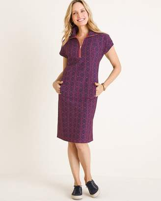 Zenergy UPF Neema Solid to Medallion-Print Half-Zip Dress