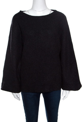 Zadig and Voltaire Deluxe Anthracite Kimono Sleeve Flint Cashmere Sweater L